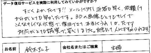 SONY HDR-XR520V ハンディカム復旧 鈴木弘子様(主婦)